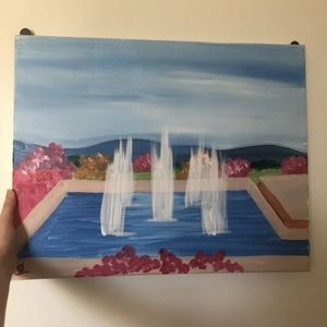 Other - Hand painted canvas fountain and flowers